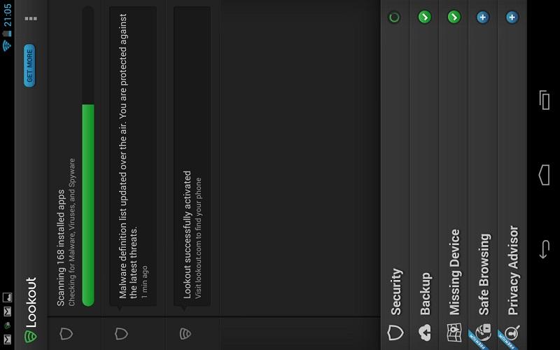 de interface van de lookout antivirus app interface op je tablet