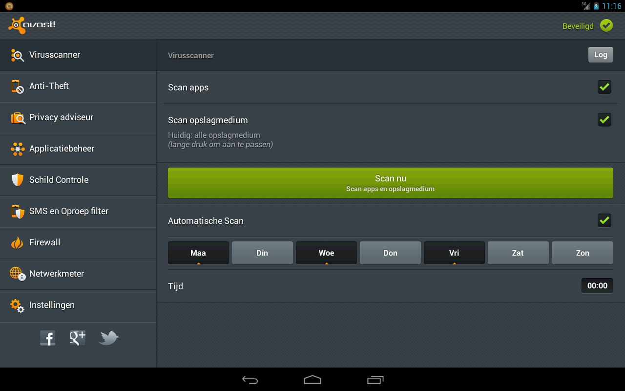 avast virus scanner interface op je tablet