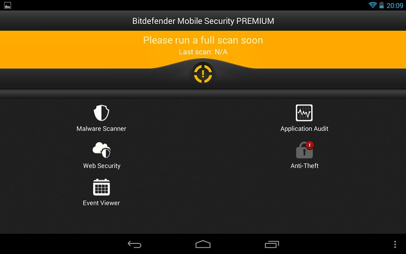bitdefender mobile security and antivirus tablet interface