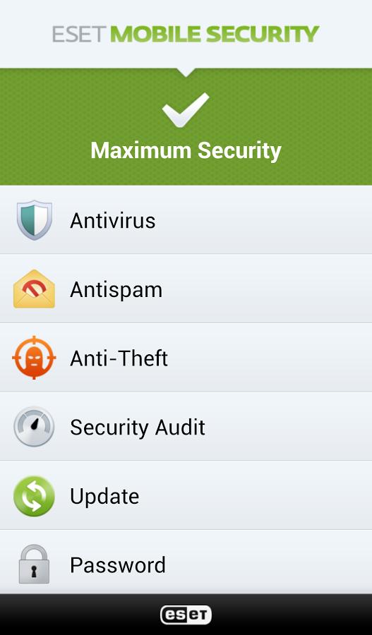 eset mobile security interface op uw telefoon