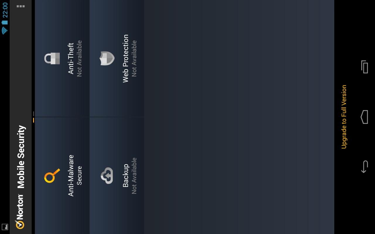 de interface van de norton mobile virus scanner app
