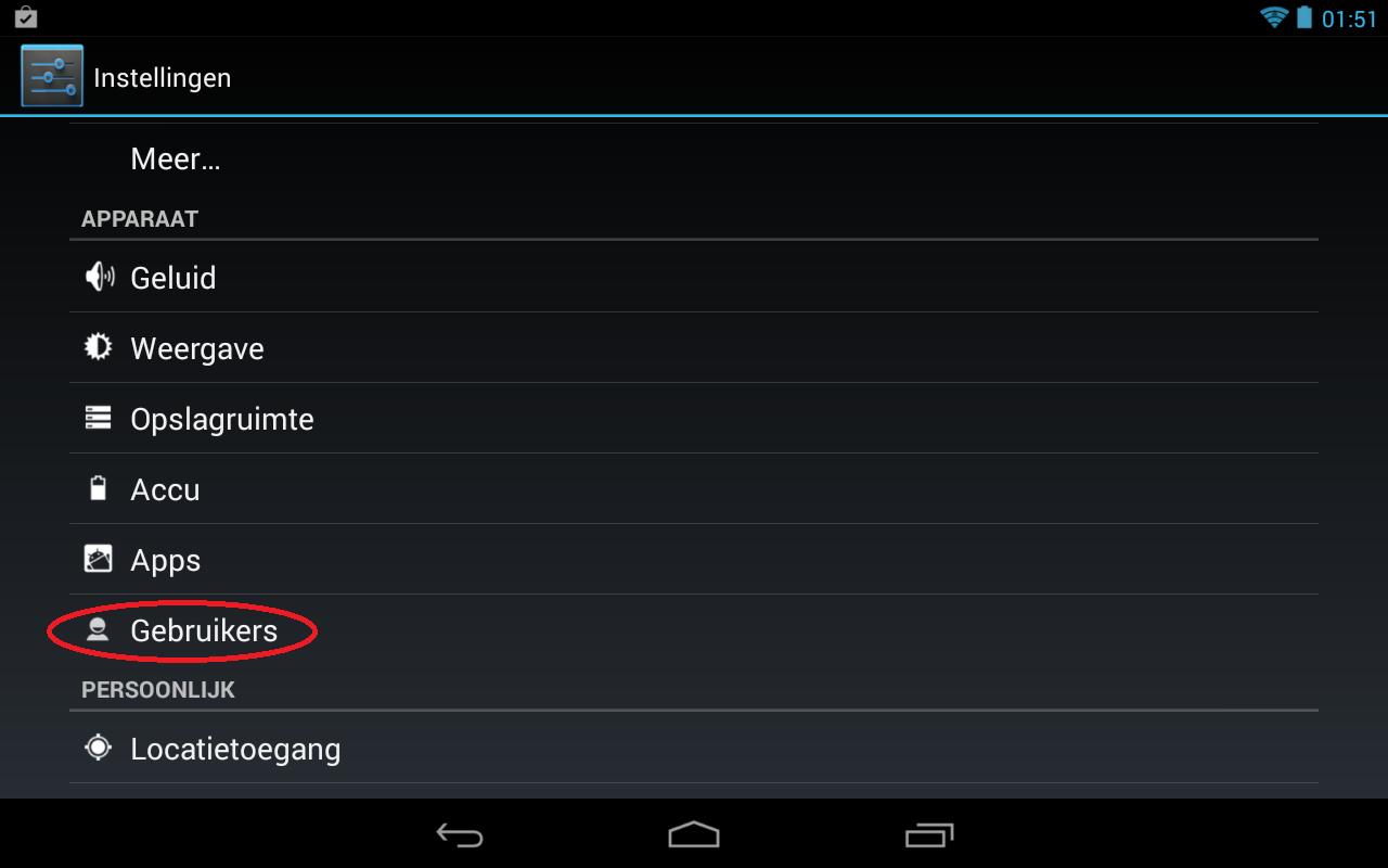 Afbeelding van stap 1 voor het toevoegen van een extra gebruiker aan uw Android apparaat. Ga naar Instellingen en klik op gebruikers.