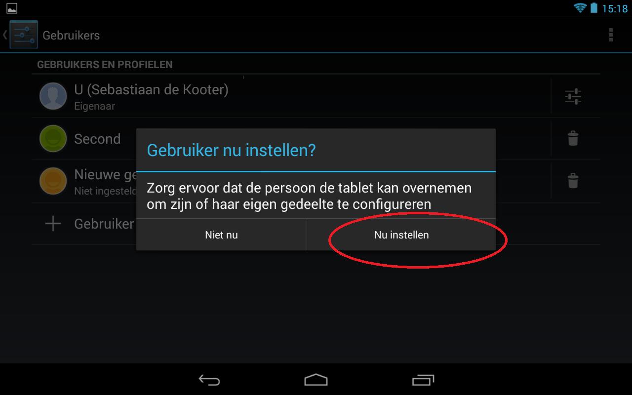 Afbeelding van stap 4 voor het toevoegen van een extra gebruiker aan uw Android apparaat. Klik op gebruiker nu instellen