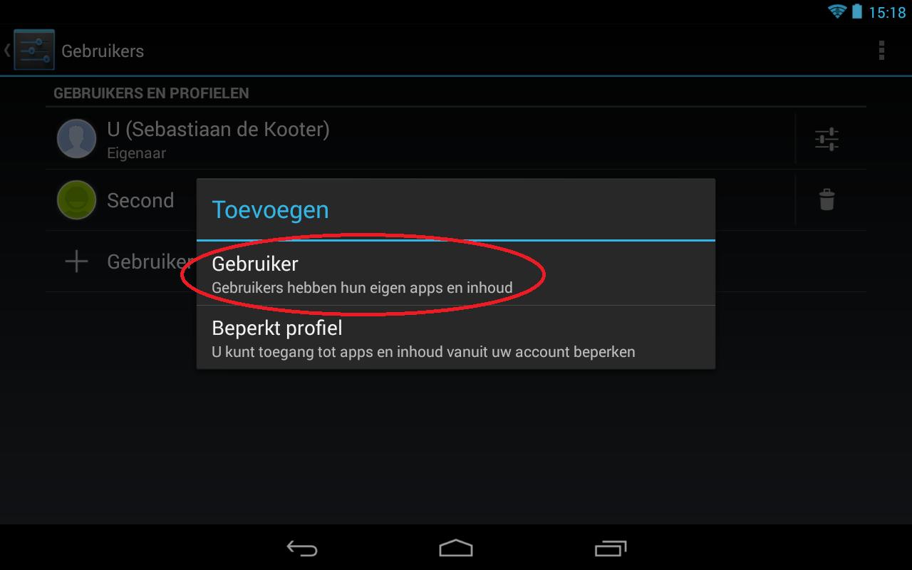 Afbeelding van stap 3 voor het toevoegen van een extra gebruiker aan uw Android apparaat. Klik in het popup scherm op Gebruiker toevoegen