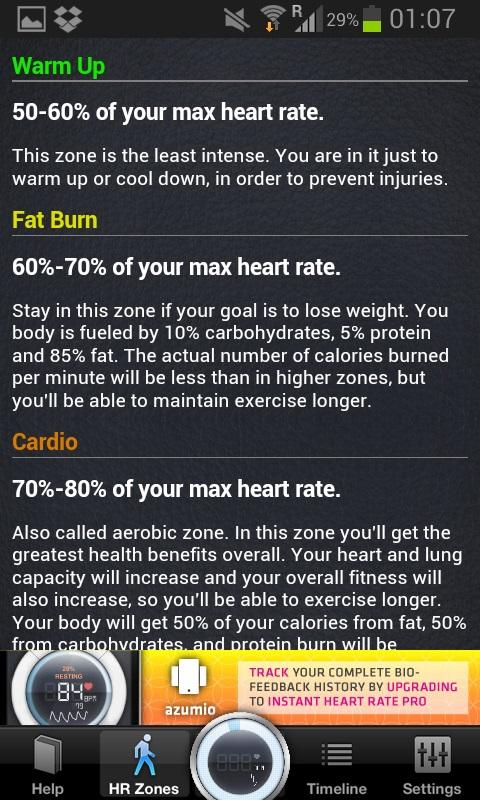 informatie van de instant heart rate app mbt de ideale hartslag