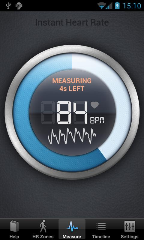 Afbeelding gemaakt tijdens het meten van de hartslag met de instant heart rate app