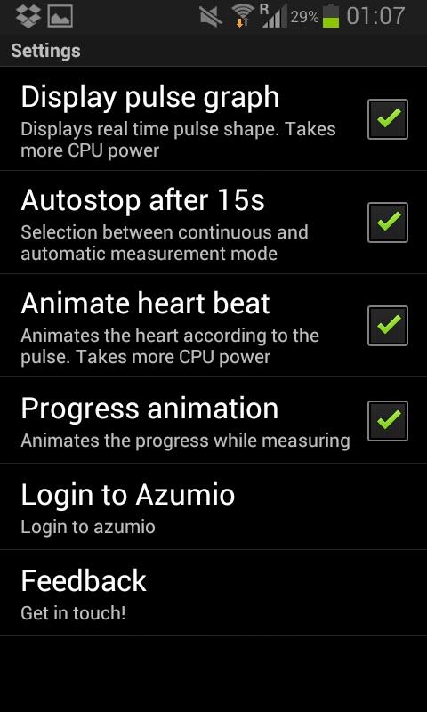 instellingen van de instant heart rate app