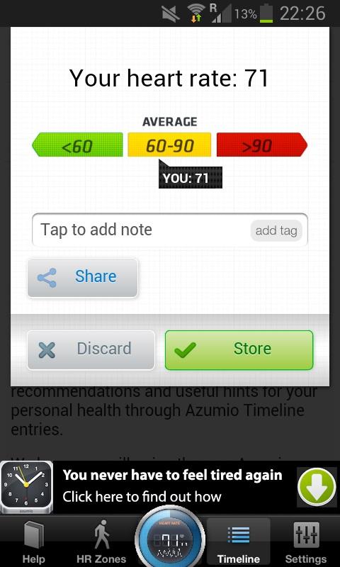 afbeelding van de 'score' van de hartslag. De hoogte van de hartslag wordt aangegeven evenals of deze binnen of buiten het gemiddelde valt