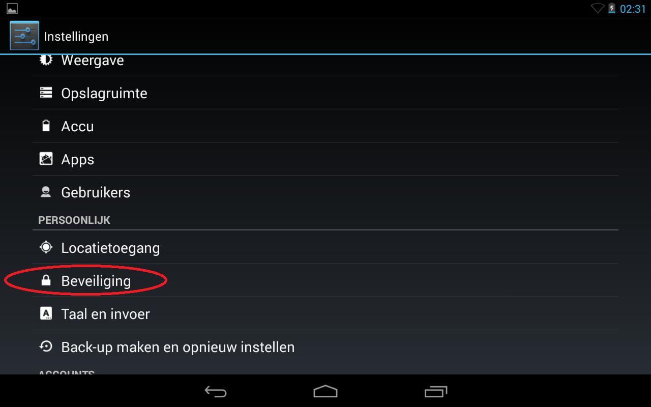 stap 1 van het instellen van de lockscreen op uw android device via instellingen, beveiliging.