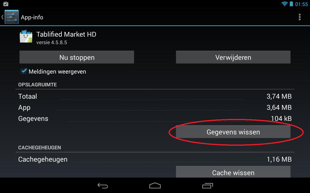 stap 2 van het instellen van de lockscreen op uw android device. Na het selecteren van de gewenste app kust u voor gegevens wissen.