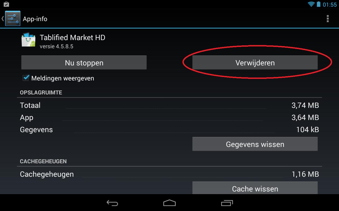 Stap 2 van het verwijderen van een app op uw android device. Na het selecteren van de gewenste app kiest u voor Verwijderen.