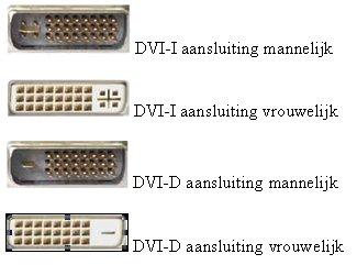 dvi aanslutingen van uw videokaart, waaronder DVI-I mannelijk, DVI-I vrouwelijk, DVI-D mannelijik en DVI-D vrouwelijk