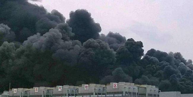 afbeelding met een foto van de brand bij geheugen fabrikant Hynix