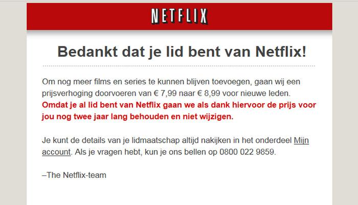 afbeelding van de email die netflix naar haar abonnees stuurde over het doorvoeren van een prijsverhoging voor nieuwe leden