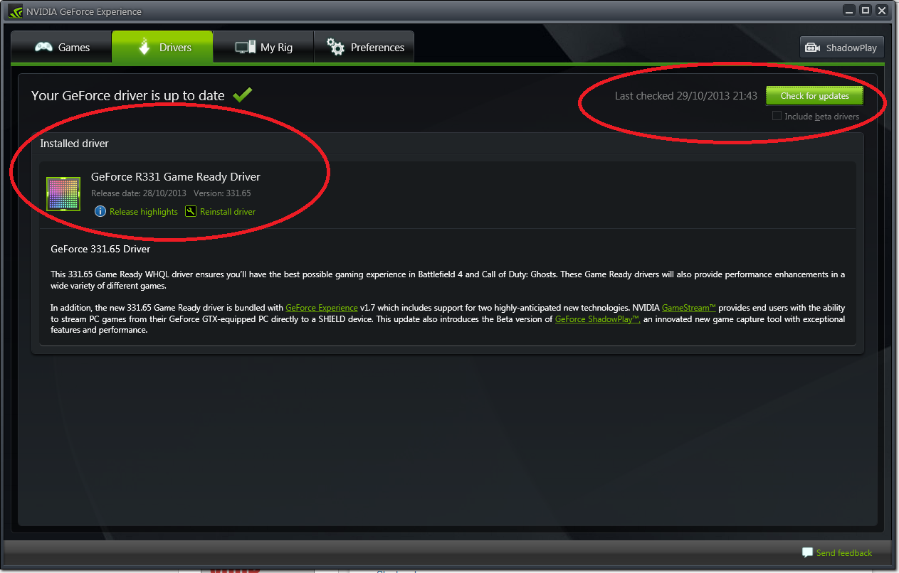 nvidia geforce experience update game ready driver