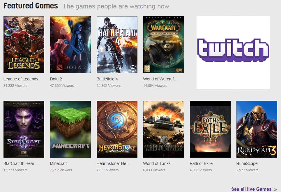 Afbeelding van featured games op de streaming website twitch
