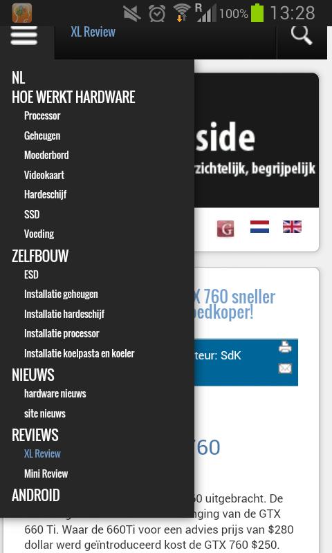 pcinside update 3.2 mobiele site. deze nieuwe vormgeving is beter geschikt voor touch schermen