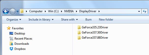 tijdelijke driver bestanden met een submap voor elke versie