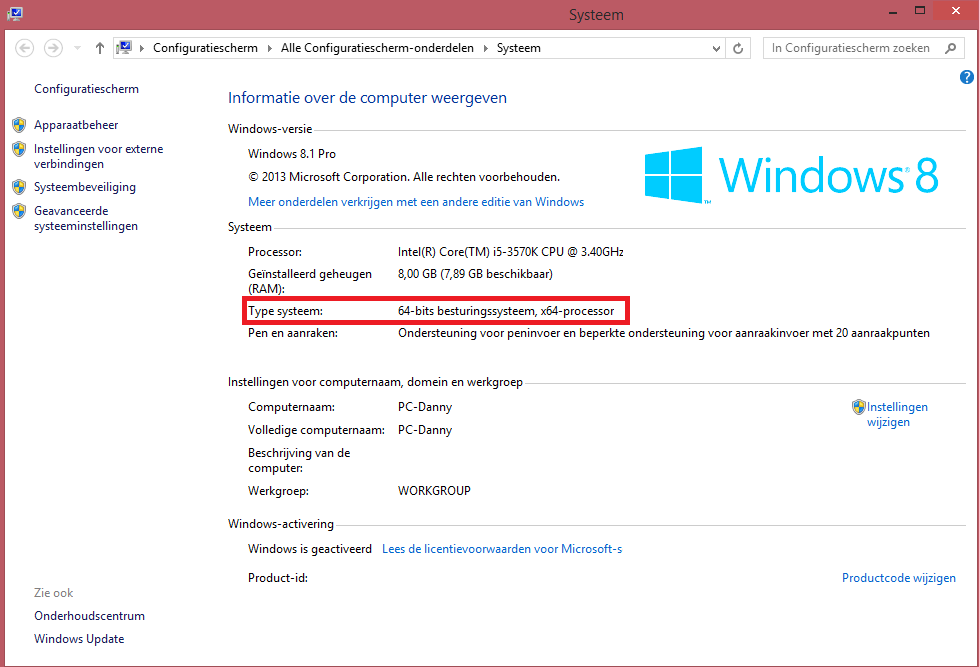 Windows 8 Informatie over de computer weergeven om zo de bitversie van Windows 8 te identificeren, 32bits of 64bits.