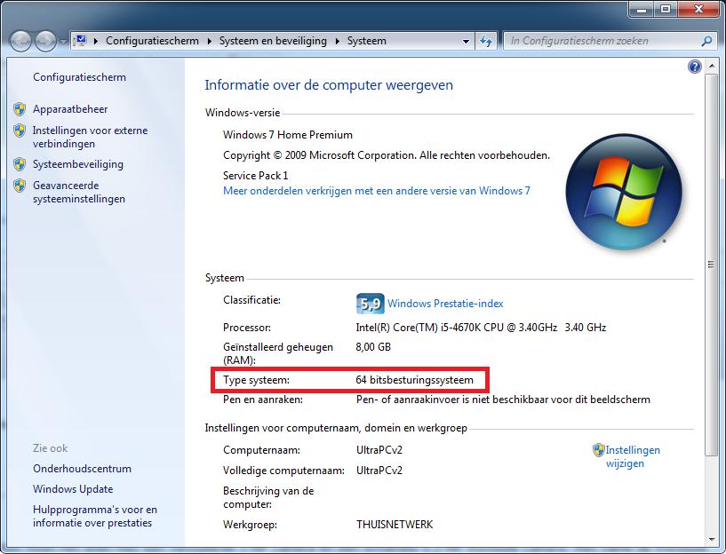 Systeem eigenschappen geeft bij type geheugen aan of uw Windows 7 32 of 64 bits is
