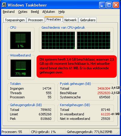 in het tabblad prestaties in windows xp kunt u aflezen hoeveel fysiek geheugen uw pc in gebruik heeft