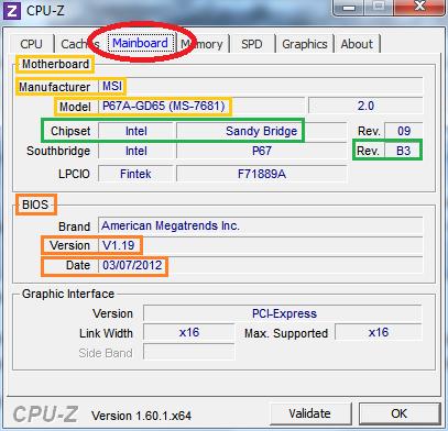 afbeelding van het tabje moederbord of mainboard in cpuz waar u alle informatie over uw moederbord kunt aflezen