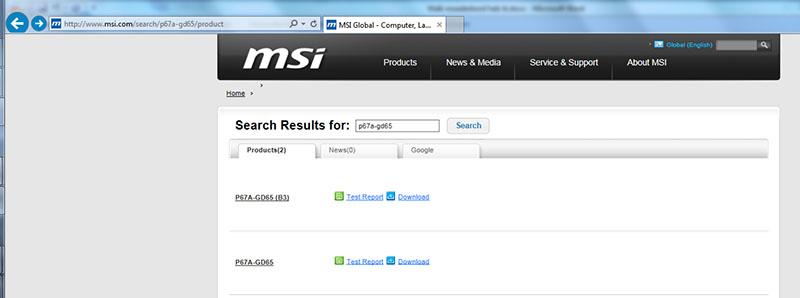 moederbord drivers updaten stap 2 zoek op het juiste type in dit geval de p67A-gd65