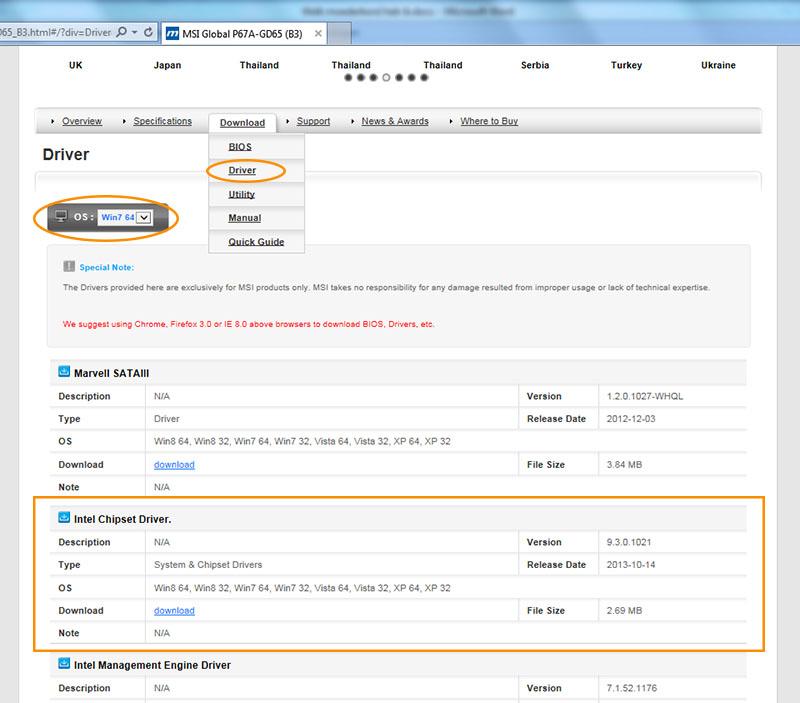 moederbord drivers updaten stap 4 vul het juiste besturingssysteem in
