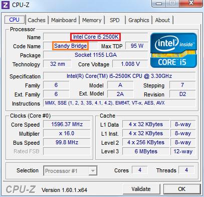 in het tabje cpu in het programma cpu-z vindt u informatie over de processor waaronder de naam en de generatie