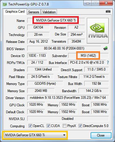 in het programma gpu-z selecteert u het tabje graphics card. hierin ziet u onder andere de naam en de subvendor van uw videokaart