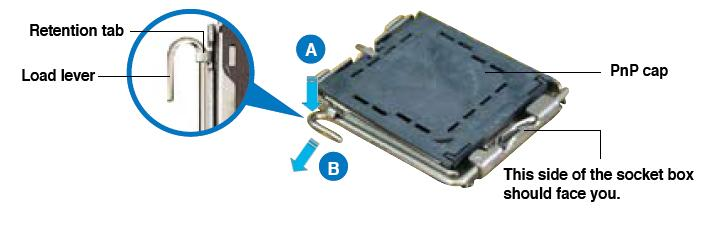 Afbeelding van stap 1 voor het plaatsen van de processor